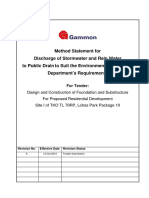 j) Method Statement for Discharge of Stormwater and Rain Water