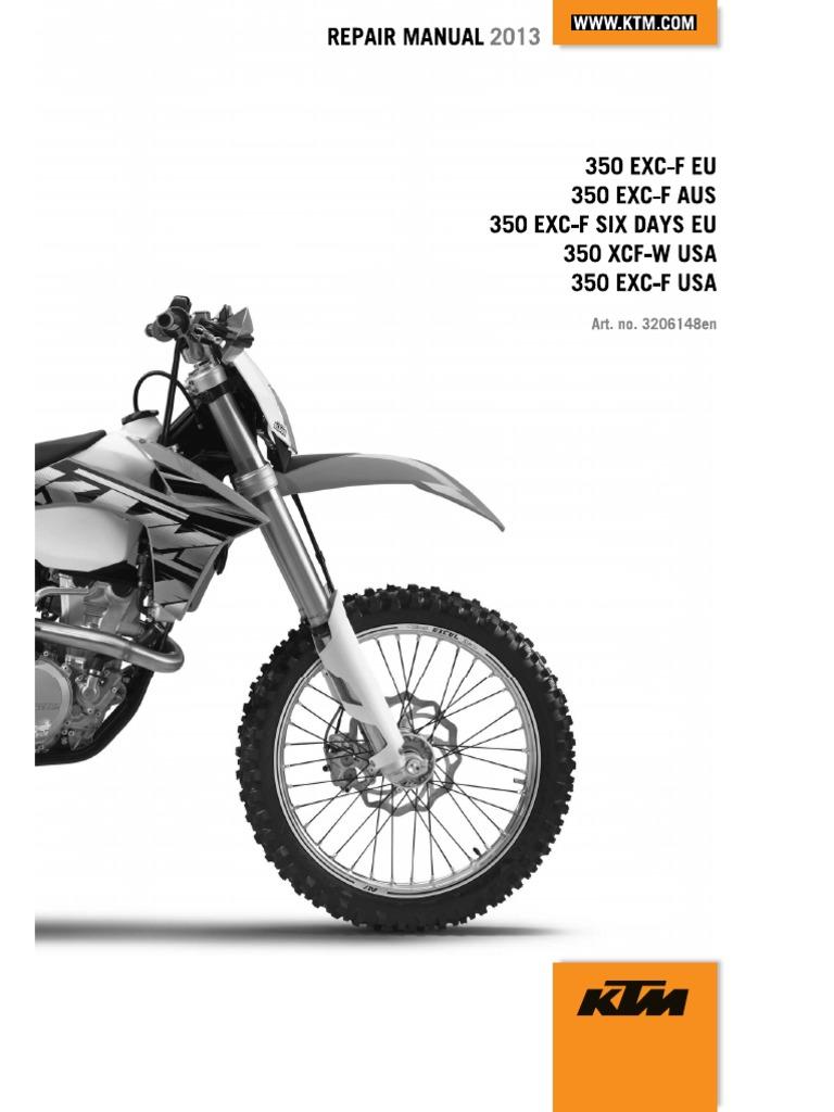2013 ktm 350 exc shop repair manual clutch cylinder engine rh scribd com 2009 ktm 530 service manual download 2009 ktm 530 exc service manual