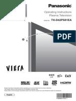 Panasonic TH-D42PS81EA PLASMA TV Operating Instructions