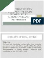 Jurnal Reading Management of BPPV and Efficacy of Betahistine