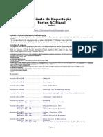 Leiaute de Importação AC Fiscal 63