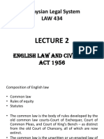 Lecture 2 - English Law and Civil Law Act 1956
