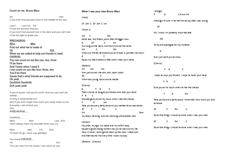 Count On Me Bruno Mars Chords