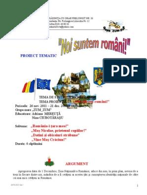 Proiect Tematic Noi Suntem Romani