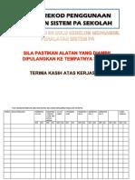 Buku Rekod Penggunaan Pa System