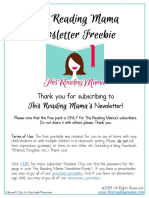 This Reading Mama Newsletter Freebie Aug 2014