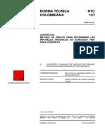 NTC 127 Concretos. Método de Ensayo para Determinar las Impurezas Orgánicas en Agregado Fino para Concreto.pdf