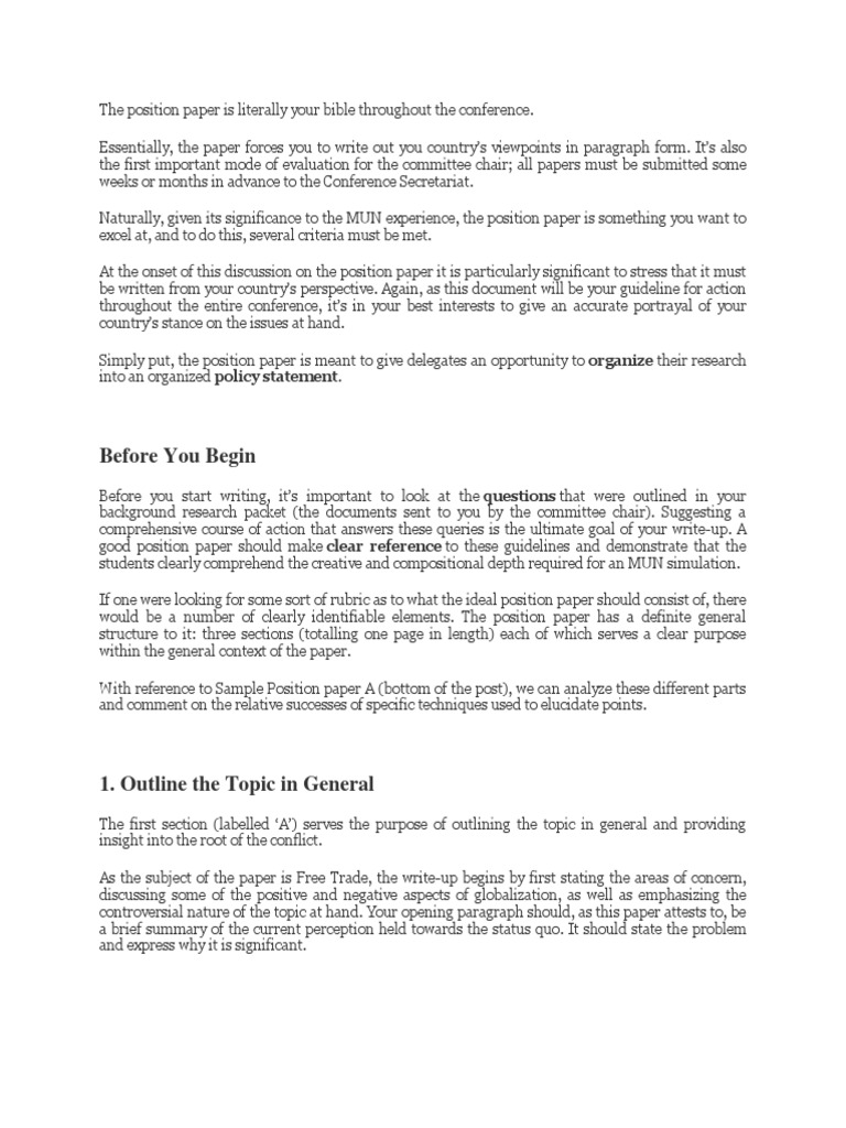 Sample Position Paper  Rubric (Academic)  Cognitive Science
