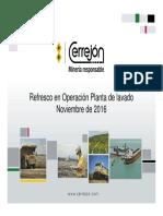 Refresco en Operación Planta de Lavado. Noviembre de 2016. Rev. 24
