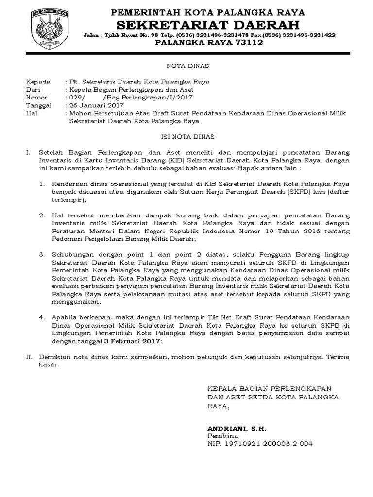 Contoh Surat Permintaan Kendaraan Dinas Operasional Barisan Contoh