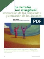 Valoran Los Mercados Los Activos Intangibles Satisfaccion de Los Empleados y Cotizacion de Las Acciones