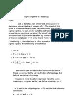 Sigma Algebras are Topologies