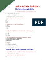 QCM Corrigs Info.generale