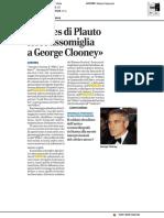 """""""Il Miles di Plauto forse assomiglia a George Clooney"""" - Il Corriere di Romagna del 27 settembre 2017"""