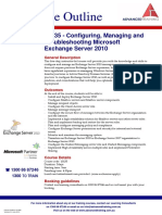 Course Outline -  Configuring Managing and Troubleshooting Microsoft Exchange Server 2010