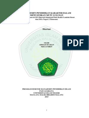 Disertasi Manajemen Pendidikan Karakter Pdf