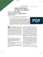 The Developmental-Health Framework Within the McGill Model of Nursing