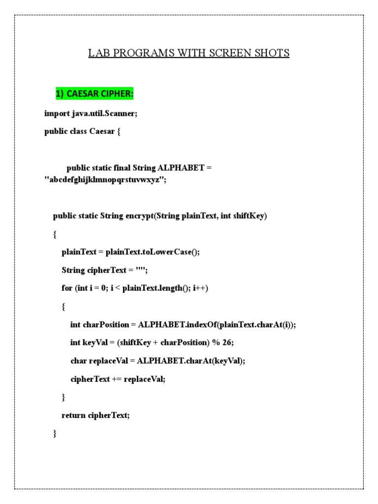 Sec Lab Lab Programs With Screen Shots   Cryptography   Cipher