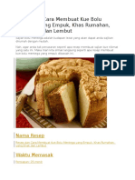 Resep Dan Cara Membuat Kue Bolu Mentega Yang Empuk