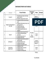 Maintenance Power Plant Schedule