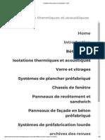 Isolations Thermiques Et Acoustiques _ VUB