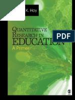 Quantitative Research in Education a Primer