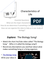 Unit 1B -- Characteristics of Life