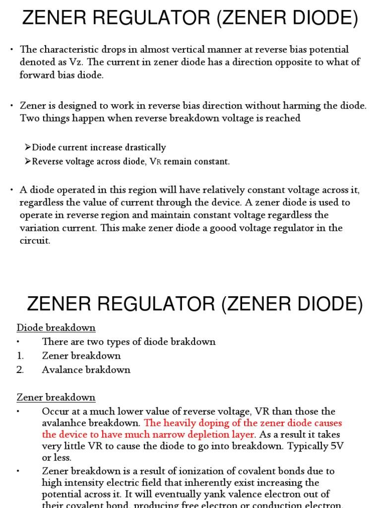 2d Zener Regulator Diode Pn Junction And A In Simple Circuit