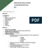 Forma de Presentar Informe de Prácticas