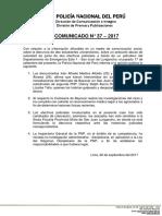 COMUNICADO PNP N° 37 - 2017