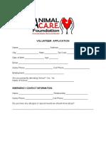ACF Volunteer Application