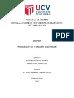Moisés J. Zelada - Modalidades de TAV