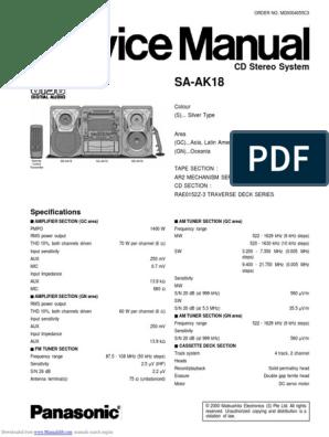 Service Manual - Panasonic SA-AK18 | Compact Cette ... on