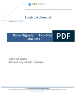 Price Signals in Two Sided Markets