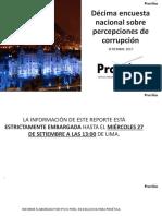 Décima Encuesta Nacional sobre la Percepción de la Corrupción de Proética