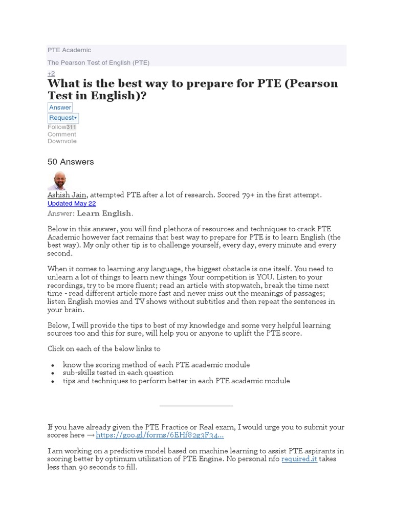 What is the Best Way to Prepare for PTE Pearson Test in English