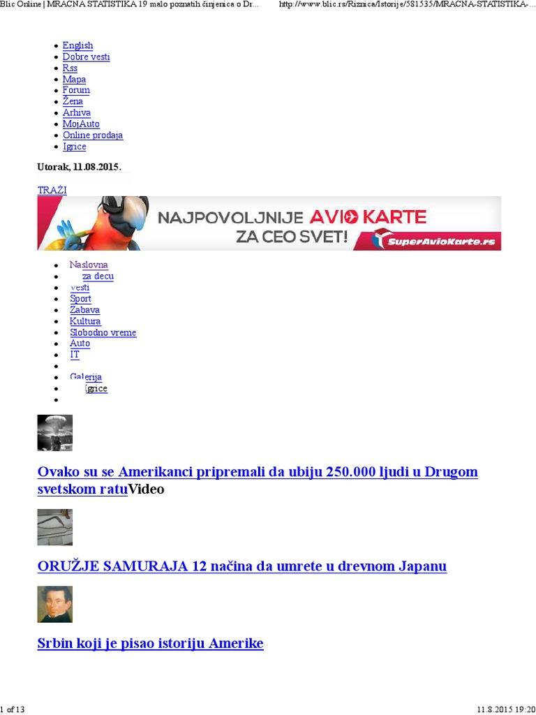 blic online mapa beograda Blic Online _ MRAČNA STATISTIKA 19 Malo Poznatih Činjenica o  blic online mapa beograda
