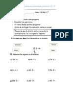 Evaluación matemática divisiones 3°