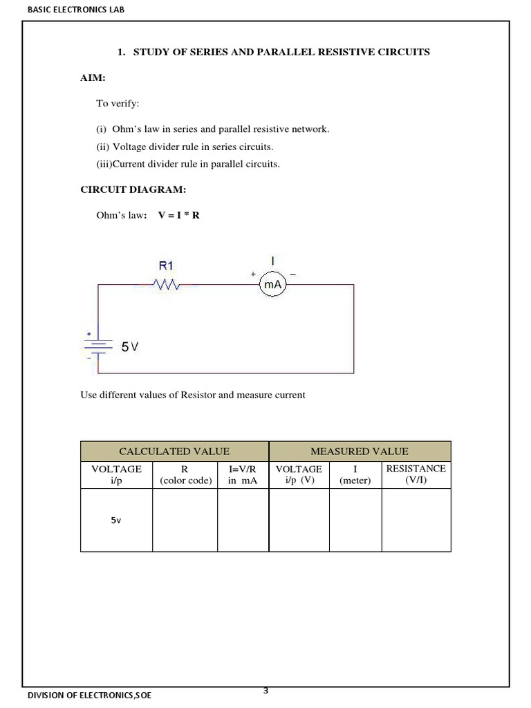 Ec Lab Manual Series And Parallel Circuits Resistor Voltage In