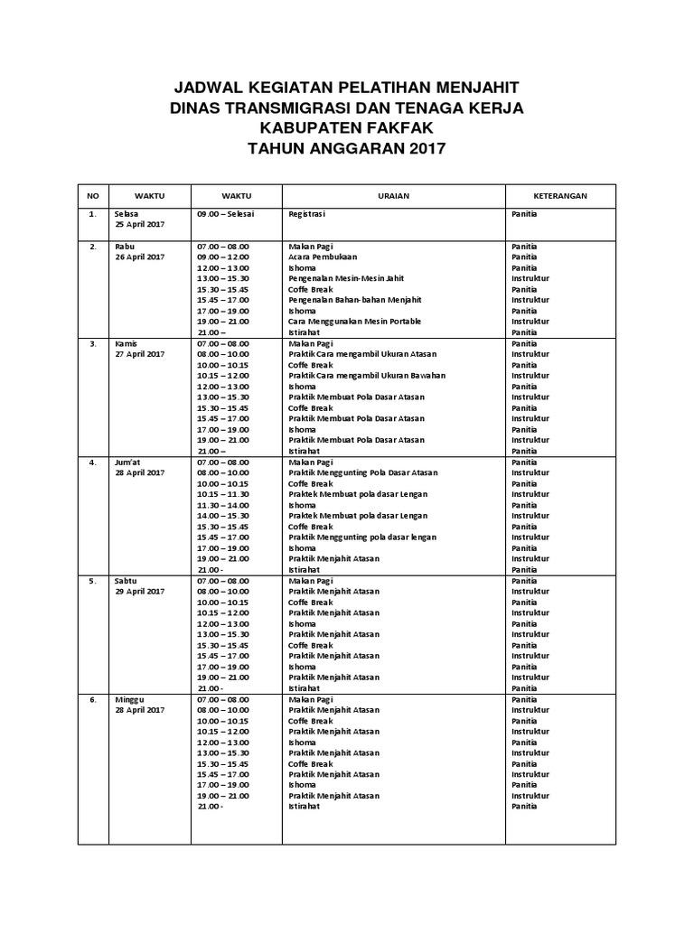 Jadwal Kegiatan Pelatihan Menjahit Tahun 2017