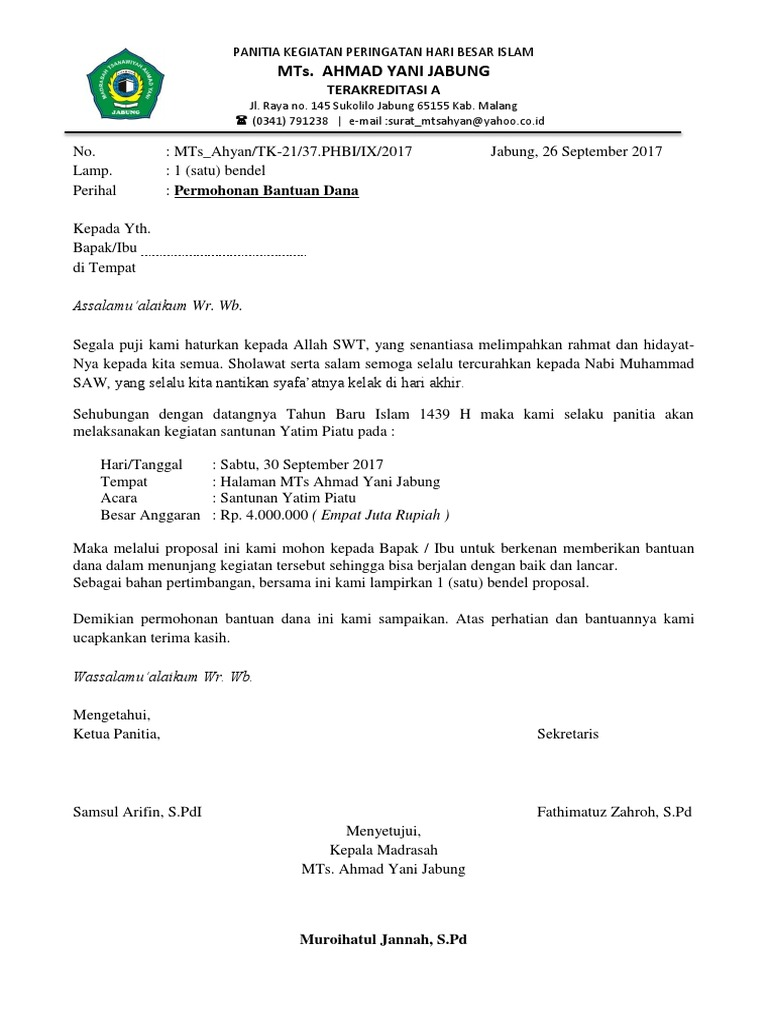 Surat Permohonan Dana Phbi