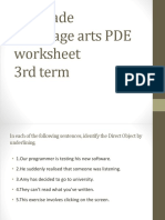 Language Arts PDE Worksheet