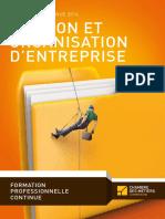Formation Continue 2016 Gestion Et Organisation d Entreprise