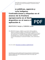 BRATICEVIC Sergio y CABANA Lucas (2013). Politicas Publicas, Agencia y Resistencia Indigena. Contradicciones y Disputas en El Avance de l (..)