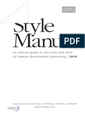 Gpo Stylemanual 2016 | United States Government Publishing Office