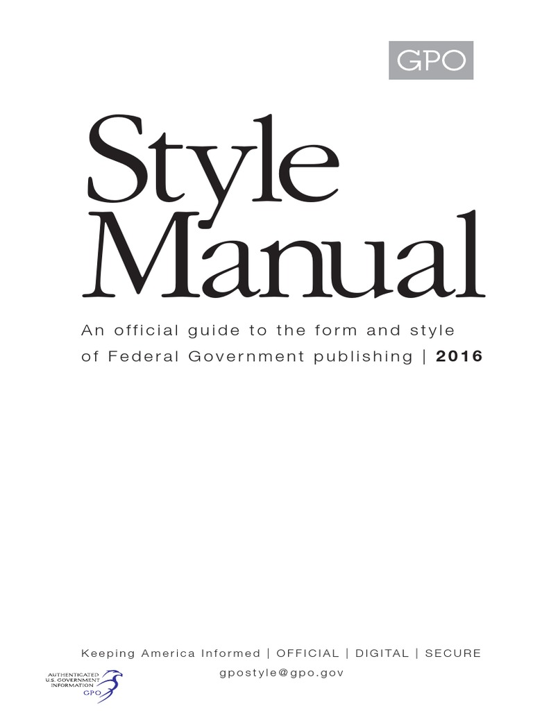 8386780195db Gpo Stylemanual 2016 | United States Government Publishing Office |  Paragraph