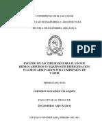 Estudio de Factibilidad Para El Uso de Hidrocarburos en Equipos de Refrigeración Fluorocarbonados Por Compresión de Vapor