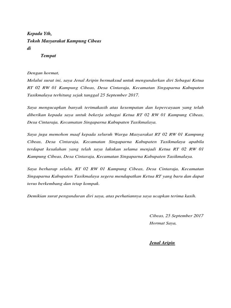 Contoh Surat Pengunduran Diri Sebagai Pengurus Masjid ...