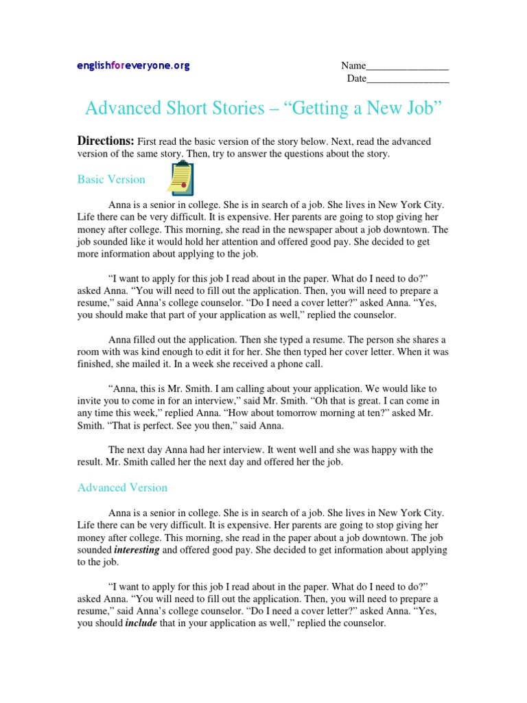 advanced short story with questions getting a new job