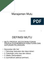 DEFINISI Manajemen Mutu